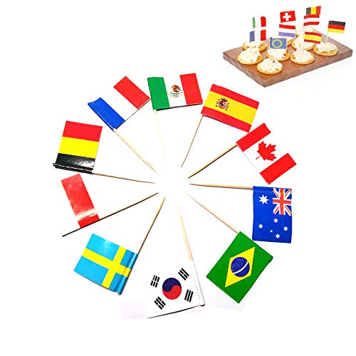 Wgg International Flag Picks Cupcake Toppers Food Toothpicks for Party Favors Birthday Wedding National Day, 100 Pcs ()