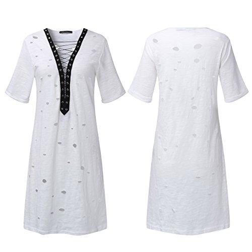 Auxo Mujer Algodón Vestidos Casuales V Cuello Manga Corta Tops Largos Hollow Dress Blanco