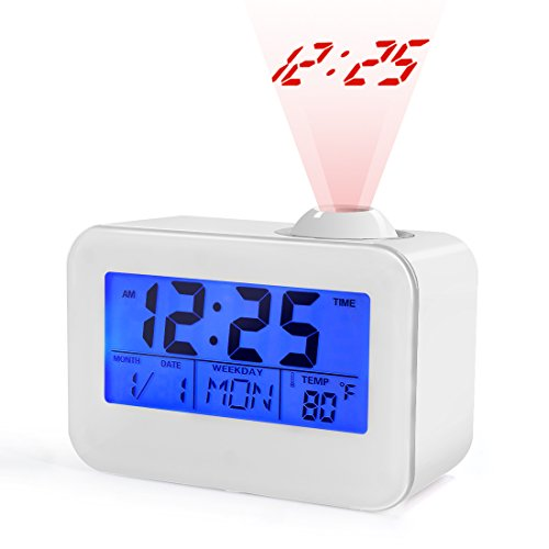 USCVIS Projection Alarm Clock, Alarm Clocks for Bedrooms, 4 LED Display with Date, Temperature Alarm Clock Digital, Sensor Alarm Clock, Cute Gifts for Kids