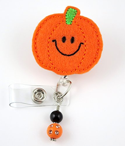 Pumpkin Smiley Face - Nurse Badge Reel - Retractable ID Badge Holder - Nurse Badge - Badge Clip - Badge Reels - Pediatric - RN - Name Badge Holder