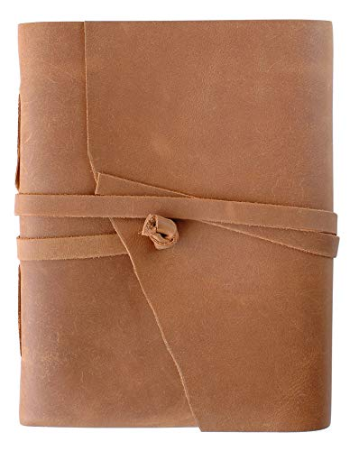 - Notebook with Treasure for Her - Genuine Leather Journal/Sketchbook in Vibrant Color with Beaded Pens (5x7, Tawny)