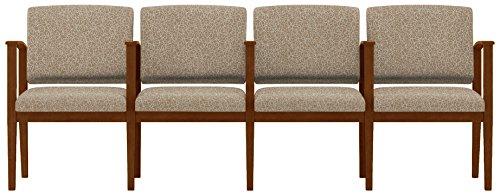 Lesro Amherst Wood 4 Seats with Center Arms in Walnut Finish, Tendril River Rock