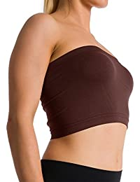 ca89d757224 Seamless Strapless Sports Bra Bandeau Tube Top No Pad Mini Hot Tee (Brown)