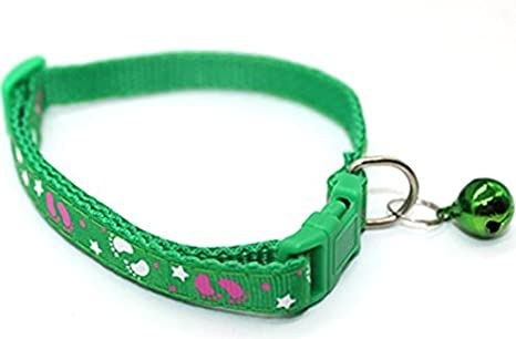Xinjiener Huellas para Niños Collar de Mascota Collar Ajustable para Gatos con Cuello de Campana Collar
