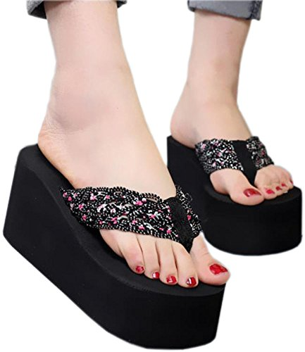 Bettyhome Women Sexy Club Party Super High Heels 3.54 Inch Floral Comfortable Thongs Casual Wedges Sandals Beach Flip Flops Slippers (6 B(M) US=EUR 37, black) - Paillette High Heel