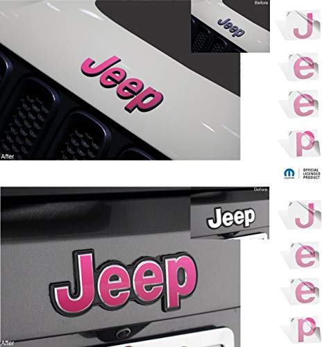 Reflective Concepts – JEEP Front and Rear Emblem Overlay Decal Stickers – 2015-2020 Jeep Renegade – (Color: Hot Pink)