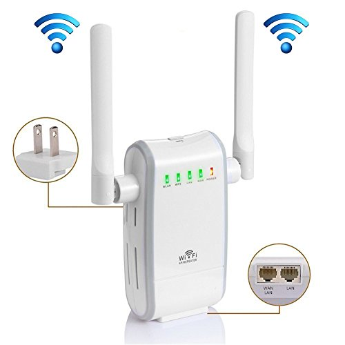 KLJ N300 WiFi Range Extender Booster Wireless Router WiFi Access Point/Router/Repeater Modes (Two Fast Ethernet Ports, Two Antennas, WPS, 2.4GHz, Support 802.11n/b/g) Laptop Antenna Booster