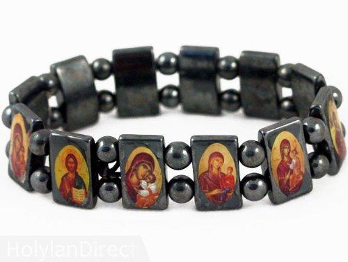 Hematite Bracelet with Saints Icons