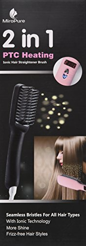 2-in-1 Ionic Hair Straightener Brush PTC Heating Hair Straightening Irons 5 Heat Settings for Different Hair Types 360 Rotatable Power Cord with Heat Resistant Glove