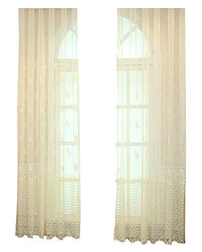 (Smibra Wave Leaves Embroidered Lodge Style Rod Pocket Sheer Curtains Window Panel Voile Breathable Decoration for Living Room Bedroom Kids Room (1 Panel, W 50 x L 95 inch, Beige))