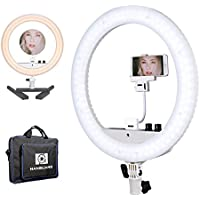 Nanguang Dimmable Ring Light 14 LED Ring Light Bicolor Portable with Mirror Cellphone Holder Desk Stand for MakeUp,Youtube Video,Portrait,Selfie,Live Webcast,Still Life Photography