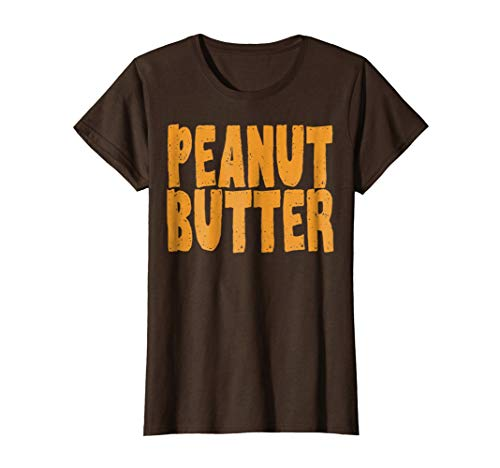 Womens Peanut Butter T-Shirt Jelly Couples Friends Halloween Shirt Small Brown