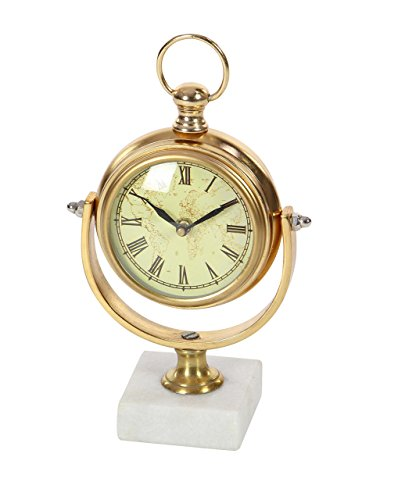 Deco 79 53458 Vintage Aluminum and Marble Table Clock Gold White/Black (Gold Clock White White)