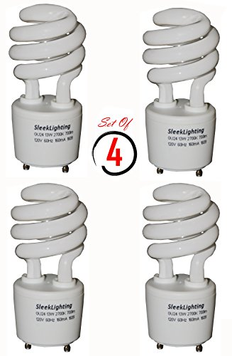 SleekLighting 13Watt T2 Spiral CFL Light Bulb 2700K 700lm GU24 base - 4pack