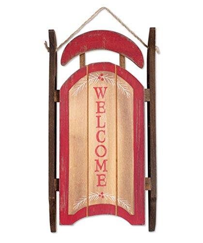 Wooden Christmas Decor - Sunset Vista Designs Wooden Welcome Sleigh Wall Decor, 12.5