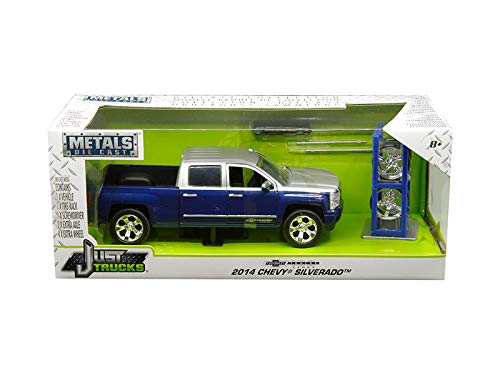 2014 Chevrolet Silverado Blue and Silver Pickup Truck with Extra Wheels Chevrolet Trucks 100th Anniversary Just Trucks Series 1/24 Diecast Model Car by Jada 30041