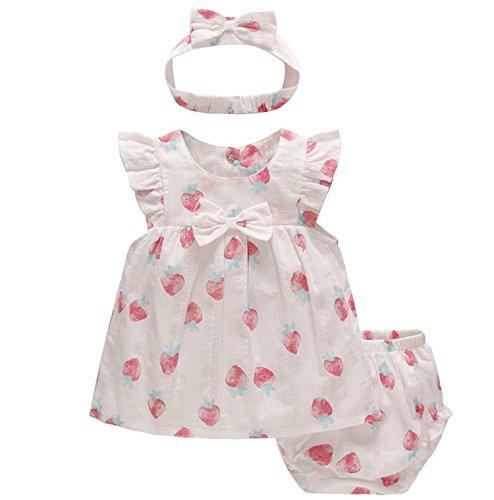 Feidoog 3PCS Baby Girls Dress+Shorts Outfit with Bowknot Headband,White,6-9M -