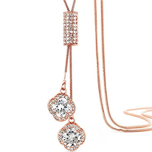 Silver Rose Gold Crystal Long Sweater Necklace Chain Bohemian Clover Tessel (Rose (Rose Gold Clover)
