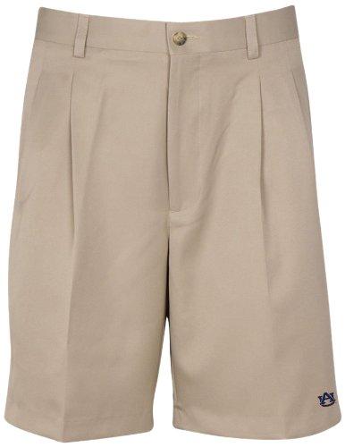 Oxford NCAA Auburn Tigers Men's Double Pleat Shorts, British Tan, - Ncaa Tigers Auburn Oxford