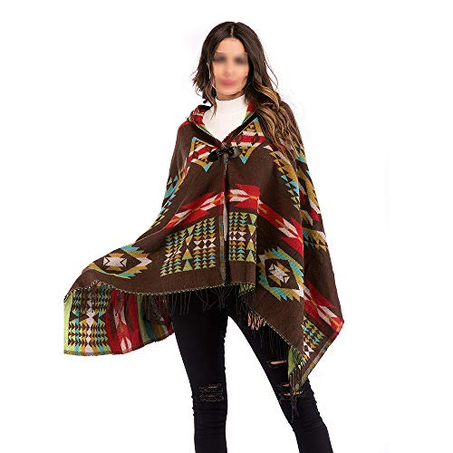 Jajx Women's Vintage Hooded Knitted Poncho Cape Irregular Geometric Patterns Cloak Shawl Sweater Cardigan (Color : Brown)