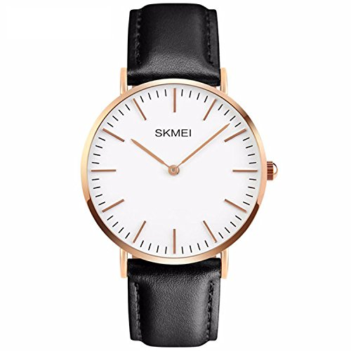 Men's Casual Classic Stainless Steel Case Unique Quartz Analog Waterproof Dress Wrist Business Watch With Black Leather Band - White (Stainless Steel Wrist Watch compare prices)