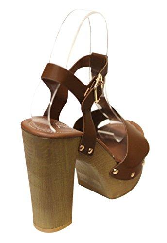 Voor Altijd Eileen-45 Dames Stevige Metalen Punt T-band Slingback Woody Platform Sandalen Bruin