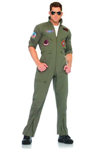 Leg Avenue Men's Top Gun Flight Suit Costume, Khaki/Green, Medium/Large (Pilot Costume Men)
