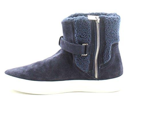 Marc Fisher Kvinna Sarena Höjd Topp Dragkedja Mode Sneakers Mörkblå Mocka
