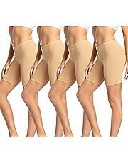"wirarpa Women's Anti Chafing Cotton Boy Shorts Underwear 8"" Inseam Bike Yoga Shorts Leggings 4 Pack"