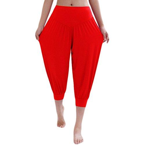 Danza Pantaloni 4 Pantaloni Harem Gym Sentaoa Sport Pilates Aladin Yoga Pantaloni Da 3 Running Rosso Donna W5z5q1