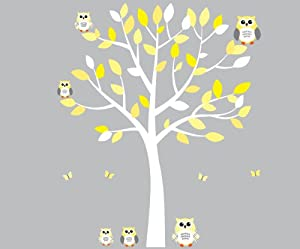 Amazoncom Yellow Owl Wall Decal Gender Neutral Baby Nursery Or - Nursery wall decals gender neutral