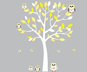Amazon.com: Yellow Owl Wall Decal, Gender Neutral, Baby Nursery or ...