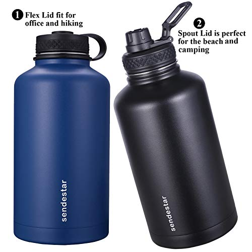 Sendestar 64 oz Beer Growler Double Wall Vacuum Insulated Leak Proof Stainless Steel Water Bottle —Wide Mouth with Flat Cap & Spout Lid Includes Water Bottle Pouch (Black) by Sendestar (Image #4)