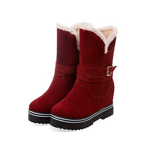 VogueZone009 Damen Ziehen auf Hoher Absatz Mattglasbirne Rein Niedrig-Spitze Stiefel Rot