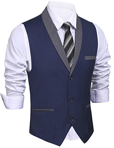 Daupanzees Mens Business Suit Vest Slim Fit 3 Pockets 3 Buttons V-Neck Wedding Sleeveless Button Down Waistcoat (Navy Blue L) by Daupanzees (Image #1)