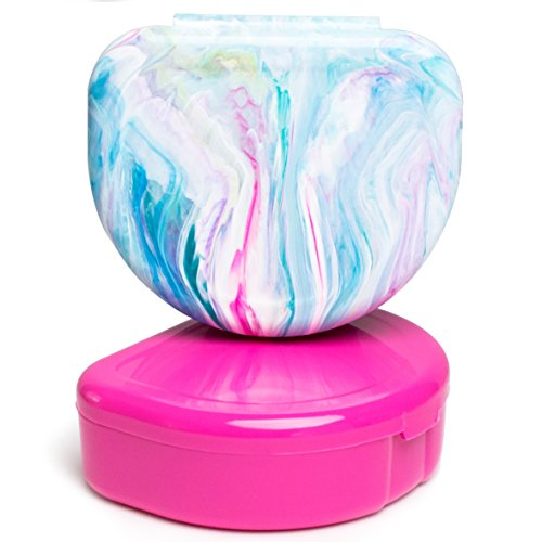 (Elegancia Orthodontic Retainer Case 2pk Designer Marble Colors, Cotton Candy Time)