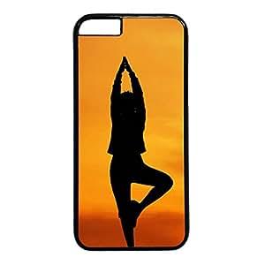 Iphone 6 PC Hard Shell Case Yoga Pose Black Skin by Sallylotus