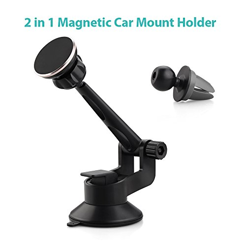 Magnetic Car Mount Holder, 2-in-1 Car Windshield / Dashboard / Air Vent Cradle Mount with 360 Rotation Adjustable Grips for for iPhone 6s Plus 6s 5s 5c Samsung Galaxy S7 Edge S6 S5 Note 5
