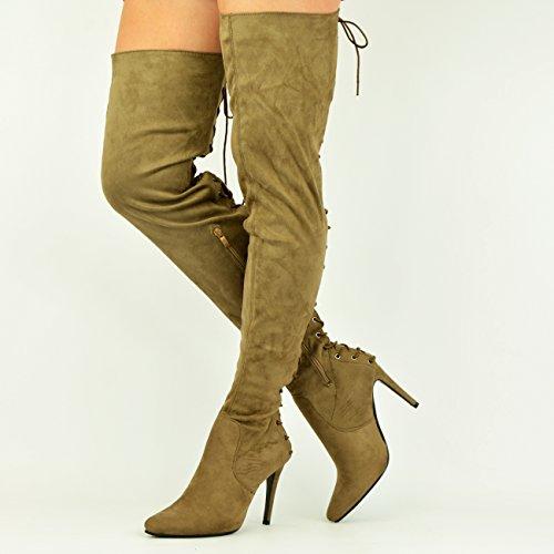 Cucu Fashion - Sandalias con cuña mujer caqui