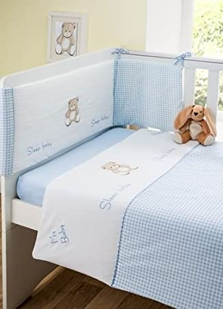 e s boys nursery bedding blue white baby cot bed 3 piece bale set