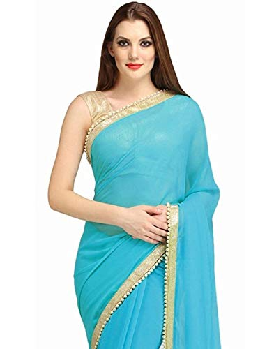 Silk Beaded Georgette - Indian Women's Ethnic Saree Beaded Border Plain Georgette Wrap Party Wear Sari Sky Blue