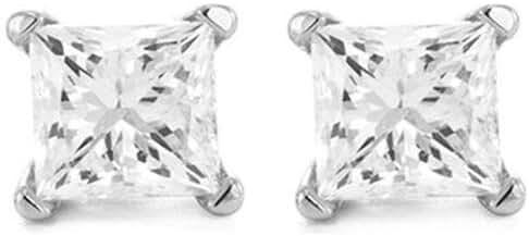 1 Carat Solitaire Diamond Stud Earrings Princess Cut 4 Prong Push Back (I-J Color, VS1-VS2 Clarity)