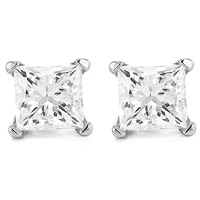45c8528ff 2 Carat 18K White Gold Solitaire Diamond Stud Earrings Princess Cut 4 Prong  Push Back (