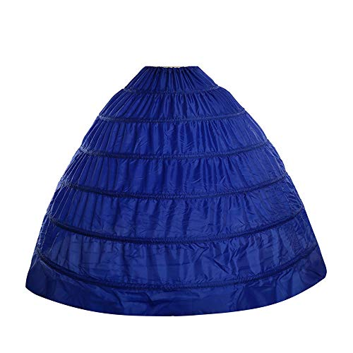 Febou Petticoat 6 Hoops Floor-Length Bridal Petticoat Women Crinoline Underskirt Slips for Wedding Ball Gown Dress (Blue)
