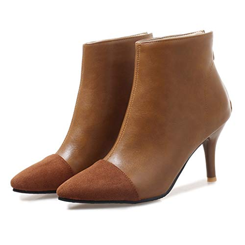 (York Zhu Women's Fashion Ankle Boots,Pointed Toe High Heel Slip-on Ankle Booties)