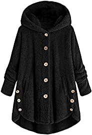 Eoailr Fleece Jacket Women Pullover Hoodie Fleece Hooded Sweatshirt Pocket Warm Winter Plus Size Button Plush