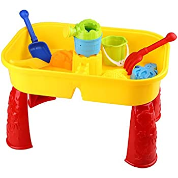Peradix Sandbox Castle Sand and Water Table With Beach Play Set for Kids
