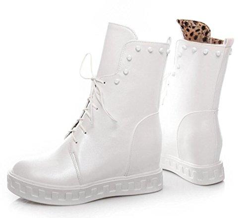 LINYI Botas Martin Botas De Tacón Alto Para Mujeres Botas De Nieve Botas De Cuero Con Cordones White