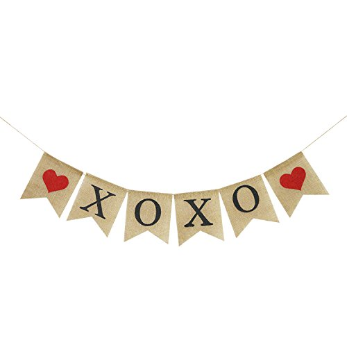 XOXO Burlap Banner | Rustic Valentines Day Decorations | Valentine's Day Banner Garland | XOXO Sign | XOXO Bunting Garland | Photo Props Backdrop]()