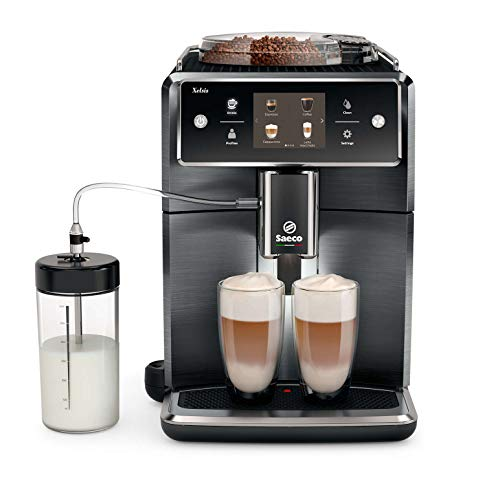 Saeco super-automatic espresso coffee machine with an adjustable grinder, double boiler, for brewing espresso, cappuccino, latte & flat white.SM7686 ()